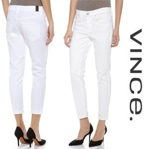 Vince Mason Relaxed Rolled White Jeans Size 28